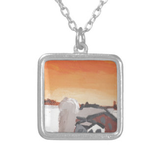 barn farm house sun sunset drawing eliana silver plated necklace