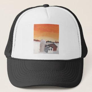 barn farm house sun sunset drawing eliana trucker hat