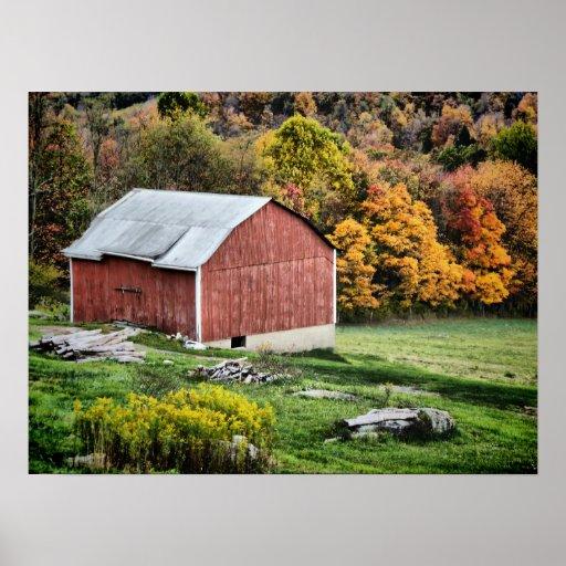 Barn in Autumn - PA Print