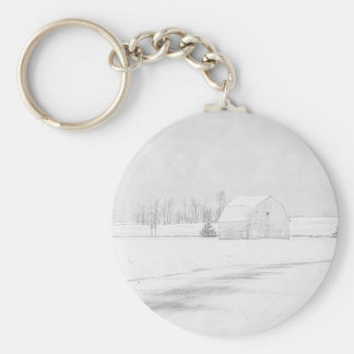 Barn In Snow Basic Round Button Key Ring