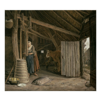 Barn Interior with a Maid Churning Butter Poster