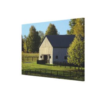 Barn on thoroughbred horse farm at sunrise, canvas print
