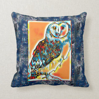 Barn Owl and Midnight Nature Patterned Cushion