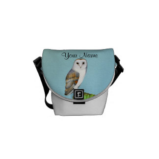 Barn Owl Bird Watercolor Painting Wildlife Artwork Courier Bag