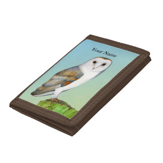 Barn Owl Bird Watercolor Painting Wildlife Artwork Trifold Wallet