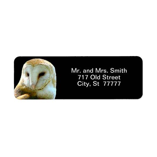 Barn Owl Close Profile Return Address Label