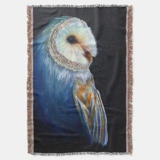 Barn Owl Colorful Wildlife Throw Blanket