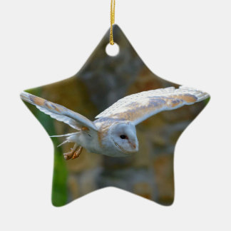 Barn Owl Flying Ceramic Ornament