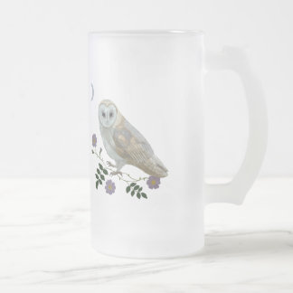 Barn Owl Frosted Glass Beer Mug