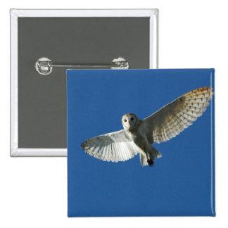 Barn Owl in Daytime Flight 15 Cm Square Badge