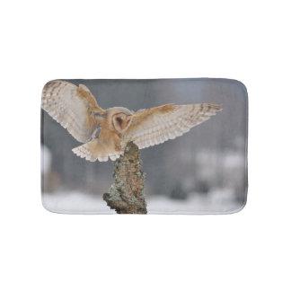 Barn owl landing to spike bath mats