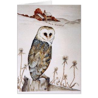 Barn Owl on the hunt Card