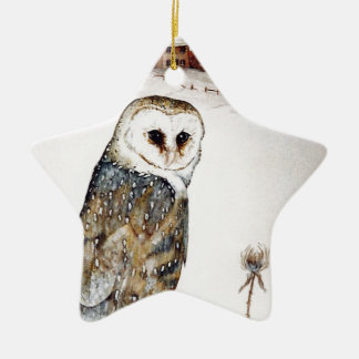 Barn Owl on the hunt Ceramic Ornament