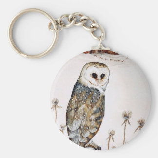 Barn Owl on the hunt Key Ring