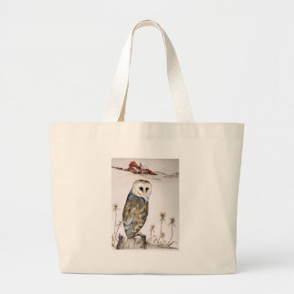 Barn Owl on the hunt Large Tote Bag