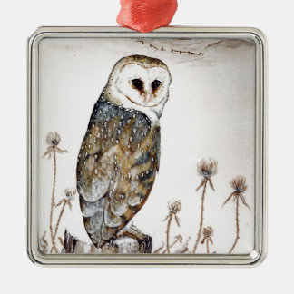 Barn Owl on the hunt Metal Ornament