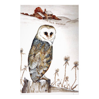 Barn Owl on the hunt Stationery