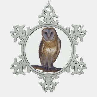 Barn Owl Pewter Snowflake Decoration