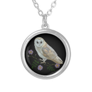Barn Owl Round Pendant Necklace