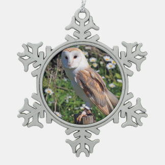 Barn Owl Snowflake Pewter Christmas Ornament