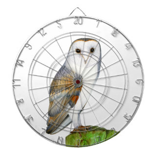 Barn Owl Tyto Alba Watercolor Artwork Print Dartboard