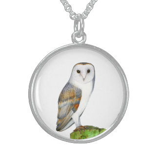 Barn Owl Watercolor Artwork Jewellery and Bags Sterling Silver Necklace