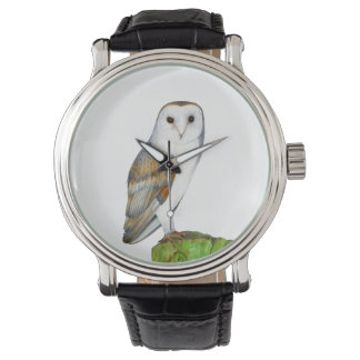 Barn Owl Watercolor Artwork Jewellery and Bags Watch