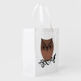 Barn Owl Whimsical Country Reusable Grocery Bag