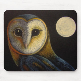 BARN OWL with FULLMOON MOUSE PAD