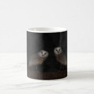Barn Owls hunting in the fog Coffee Mugs