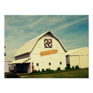 Barn Quilt and Corn Faux Vintage Poster