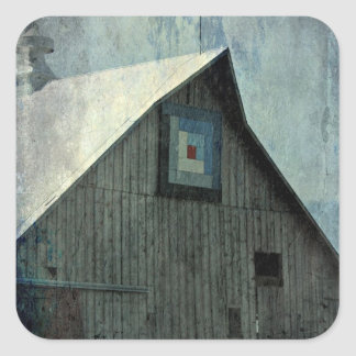 Barn Quilt Grunge Square Sticker