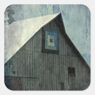 Barn Quilt Grunge Square Sticker
