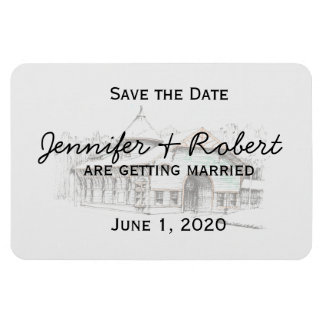 Barn Sketch Country Wedding Save the Date Rectangular Magnet