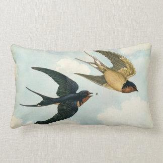Barn Swallow Bird Eat a Bug Nature Flight Aged Lumbar Cushion