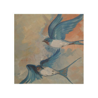Barn Swallow Birds Wooden Wall Art