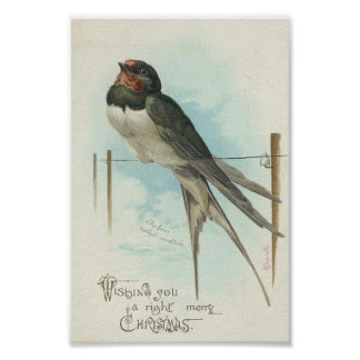 Barn Swallow Vintage Christmas Poster