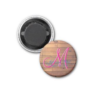 Barn Wall 3d Monogram 3 Cm Round Magnet