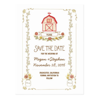 Barn wedding rustic save the date postcards