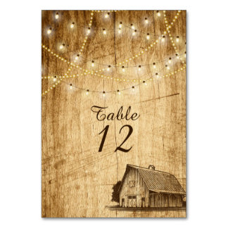 Barn wedding table number for a Country Wedding Table Card