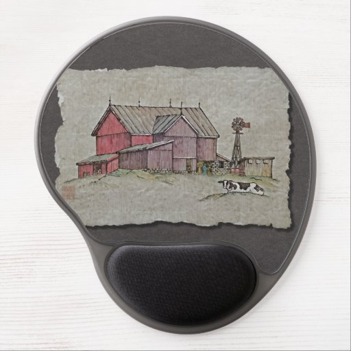 Barn Windmill & Cow Gel Mouse Mat