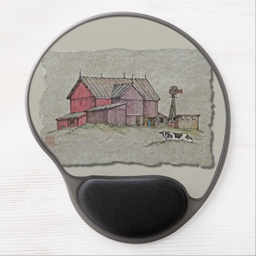 Barn Windmill & Cow Gel Mouse Mats