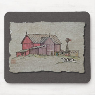 Barn Windmill Cow Mouse Pads