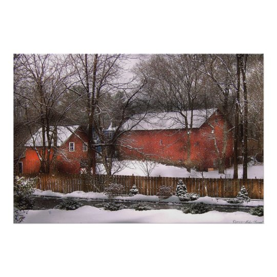 Barn - Winter in the Country Poster