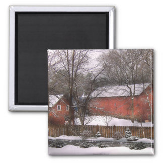 Barn - Winter in the Country Square Magnet