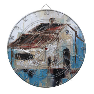 Barn with antique and rustic hues of turquoise dartboard