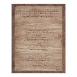 Barn Wood and Birch Country Wedding Menu 21.5 Cm X 28 Cm Flyer