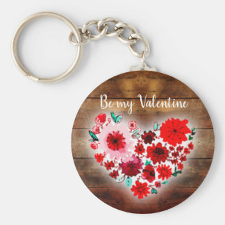 Barn wood and flowers | Be my Valentine heart Key Ring