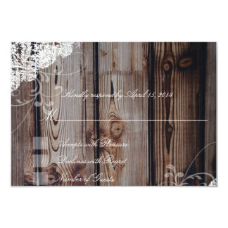 Barn Wood and Lace RSVP Cards 9 Cm X 13 Cm Invitation Card