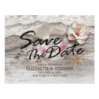 Barn Wood Burlap Lace Floral Wedding Save The Date Postcard